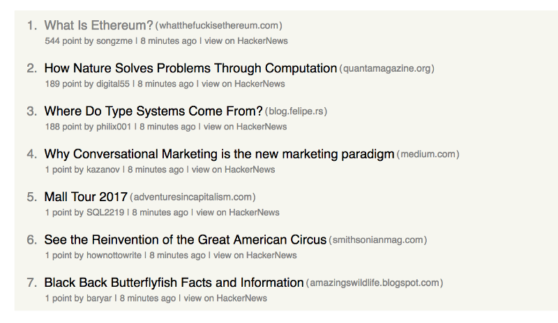 A screenshot of the HackerNews feed we will build